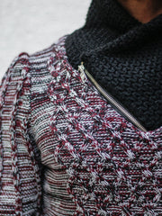 """Sebastian"" Wine Shawl Collar Sweater with Front/Side Zipper Detail"