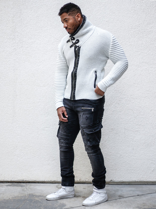 """Jake"" White Shawl Collar Button Sweater with Zipper Front"