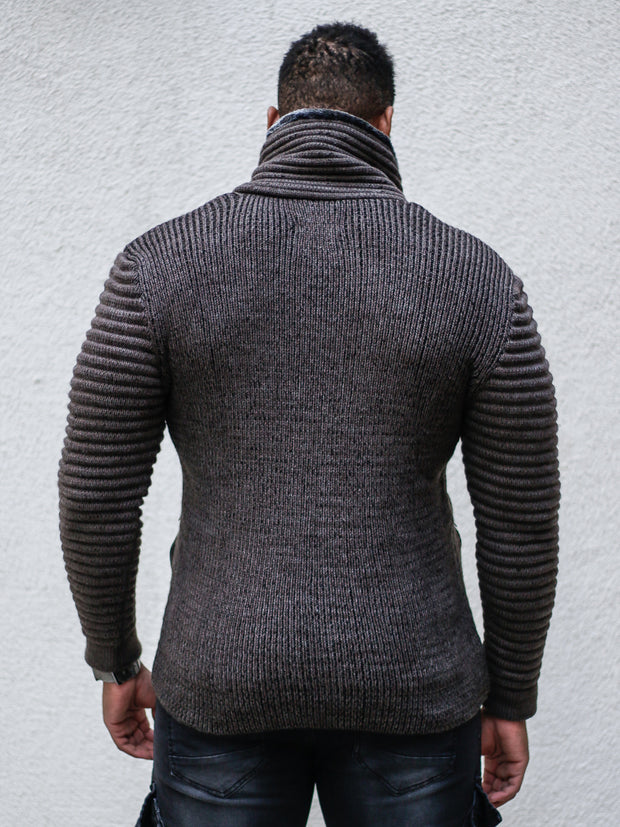 """Jake"" Mahogany Shawl Collar Button Sweater with Zipper Front"
