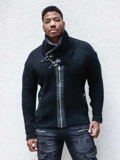 """Jake"" Black Shawl Collar Button Sweater with Zipper Front"