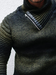 """Dean"" Ombre Sweater with Zipper Shawl Collar"