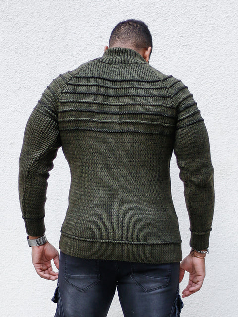 """Rico"" Olive Ribbed Sweater"