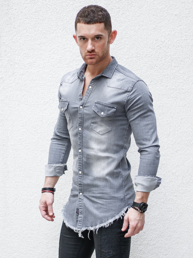 """Johnny"" Light Grey Jean Long Sleeve Shirt"