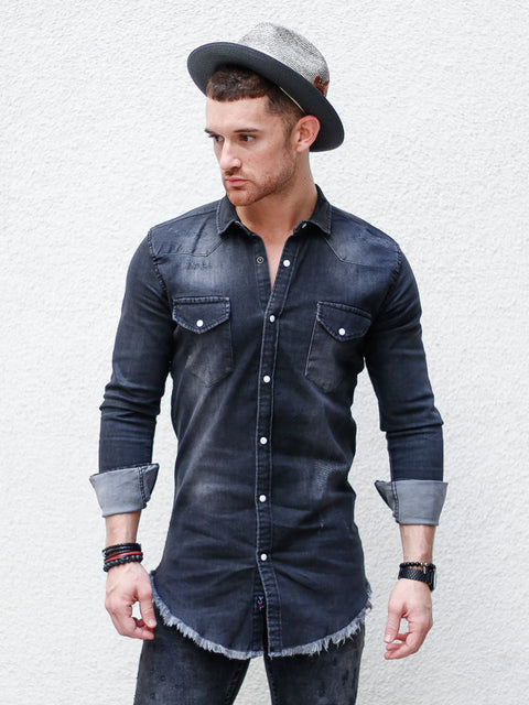 """Johnny"" Charcoal Jean Long Sleeve Shirt"