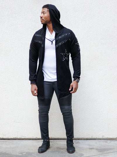 Black Fashion Euro Style Long Cardigan w/Hoodie