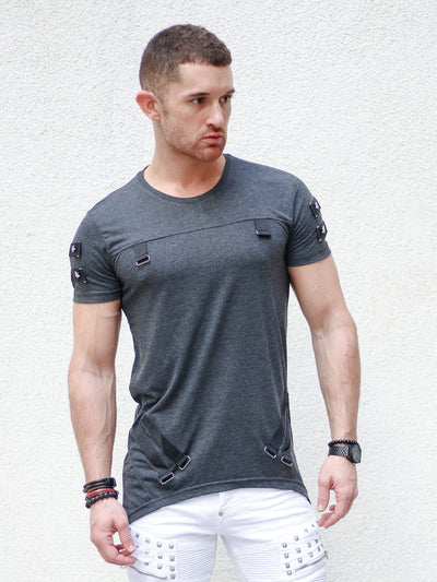 """Jerry"" Grey Tee with Buckle"
