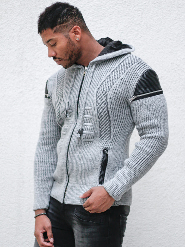 """Jason"" Grey Wool Zip-Up Hoodie with Leather Patches"