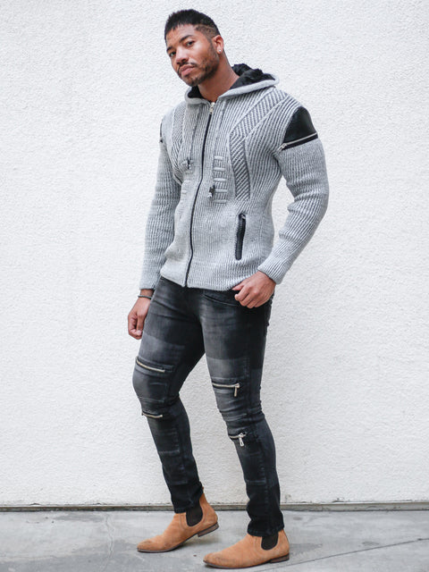 Hendrix Grey Pattern Hoodie Sweater With Zipper On Side Shoulders