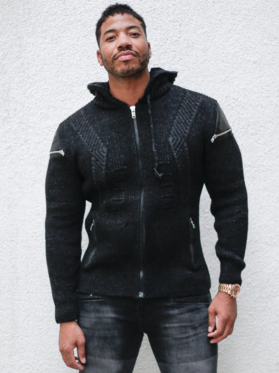 Hendrix Black Pattern Hoodie Sweater With Zipper On Side Shoulders