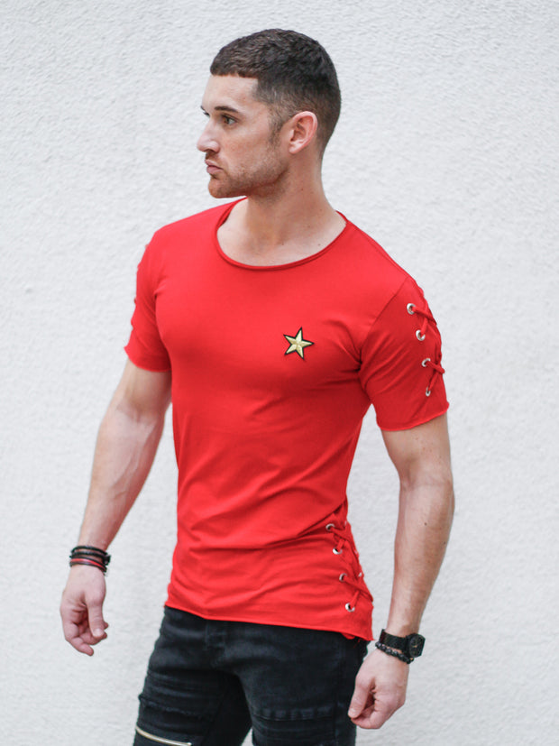Red Tee with Side Laces