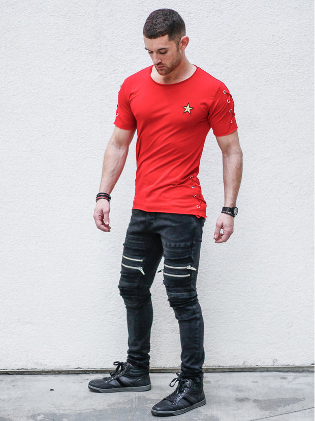 Merch Red Tee with Side Laces