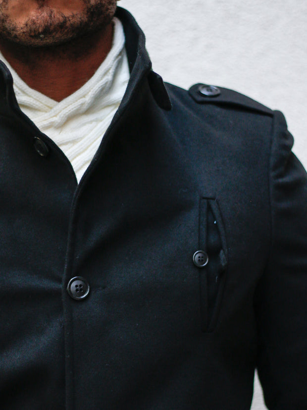 """Tommy"" Black Wool Coat"