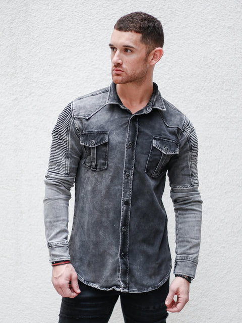 Charcoal Jean Moto Long Sleeve Shirt