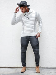 """Byrne"" White Shawl Collar Button Mock Sweater"