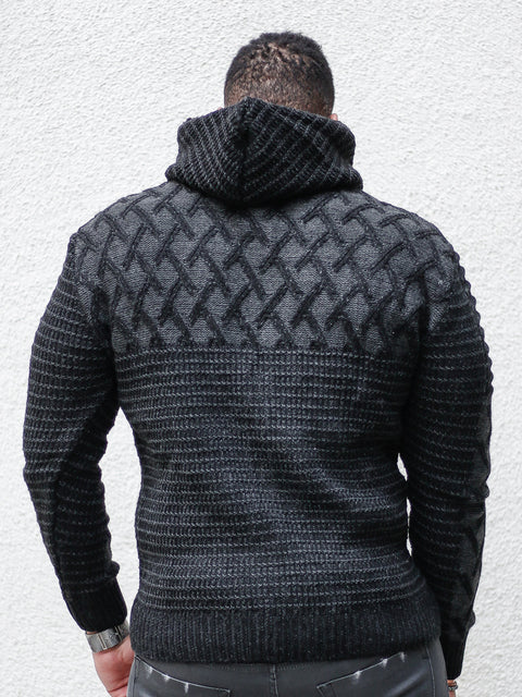 """Keith"" Black Long Sleeve Cross Pattern Hoodie"