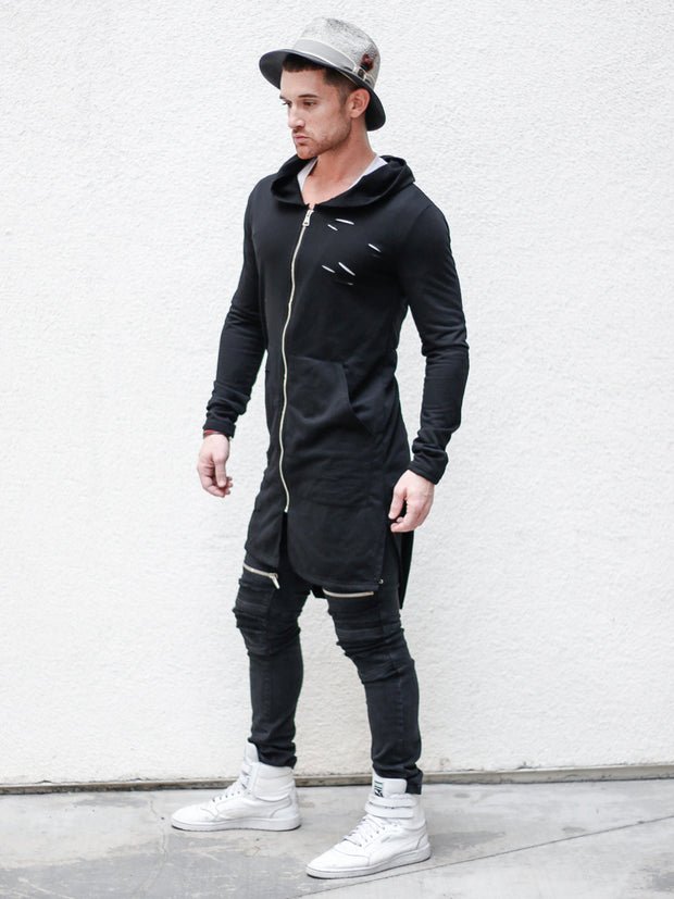 """Dylan"" Black Tattered Long Cardigan w/Hoodie"