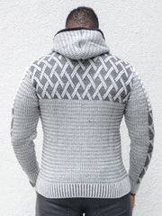 """Keith"" Grey Long Sleeve Cross Pattern Hoodie"