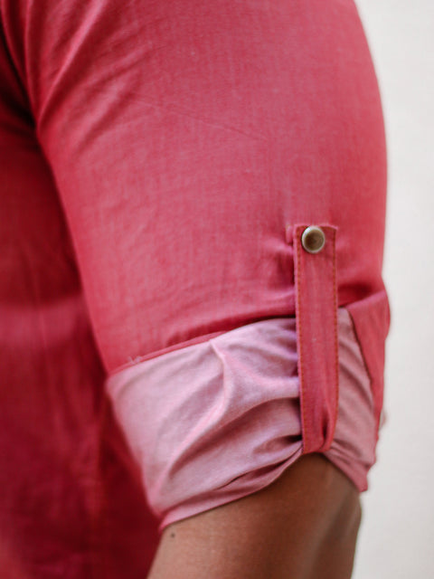 """Leo"" Pink Long Sleeve Denim Shirt With Snap Buttons"