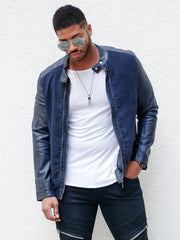 Navy Suede and Leather Jacket