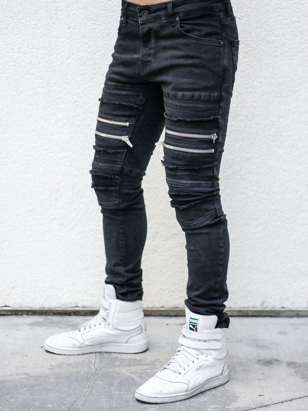 Billy Black Moto Jeans with Double Zipper