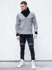 """Sebastian"" White Shawl Collar Sweater with Front/Side Zipper Detail"