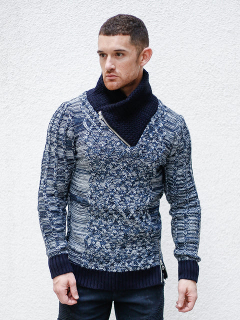 """Sebastian"" Blue/Navy Shawl Collar Sweater"