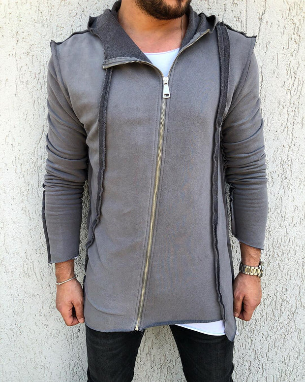 """Alessio"" Grey Fashion Cardigan With Piping"