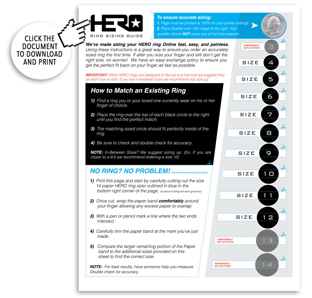 image regarding Ring Sizer Online Printable titled Weve manufactured dimension your HERO ring On the internet instant, very simple, and