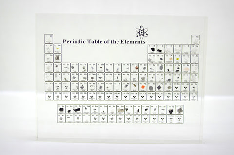 Periodic Table of the Elements with real elements, Periodic table with elements on display.