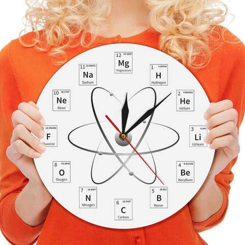 Chemical Element Periodic Wall Clock Chemistry Classroom Wall Art Chemical Symbols Modern Minimalism Wall Watch Gift For Teacher