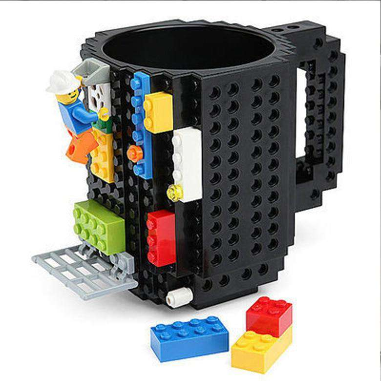 Brick Mug -Fubarbar Funny Build on Brick Coffe Mugs with Legos Novelty 12 oz Tea Time Beverage Cup Puzzle Boys Mug Building Bricks enjoy Creative DIY Building Blocks Office Pen Cups