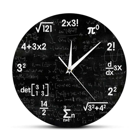 Math Equations and Notations Mathematics Chalkboard Geek Wall Clock Educational Gifts For Kids Teachers School Classroom Decor