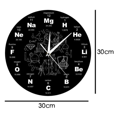 Modern Design Chemical Elements Periodic Acrylic Wall Clock Science Chemical Symbols Clock Watch Gift For Chemistry Teacher