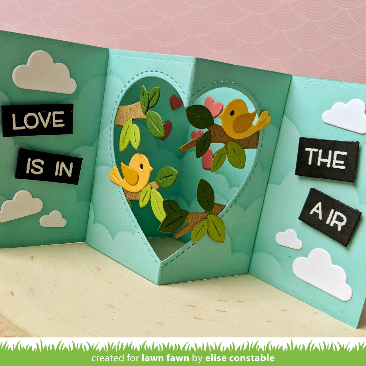 center picture window card heart add-on