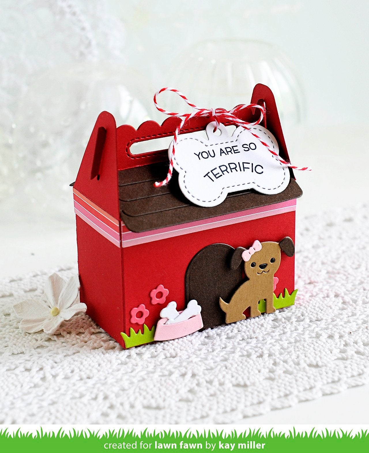 scalloped treat box dog house add-on