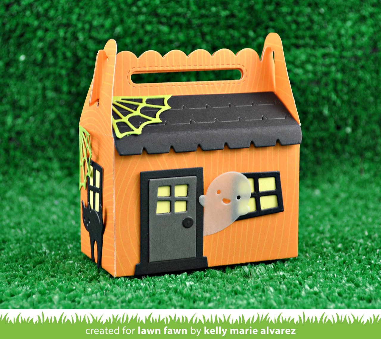scalloped treat box haunted house add-on | Lawn Fawn on