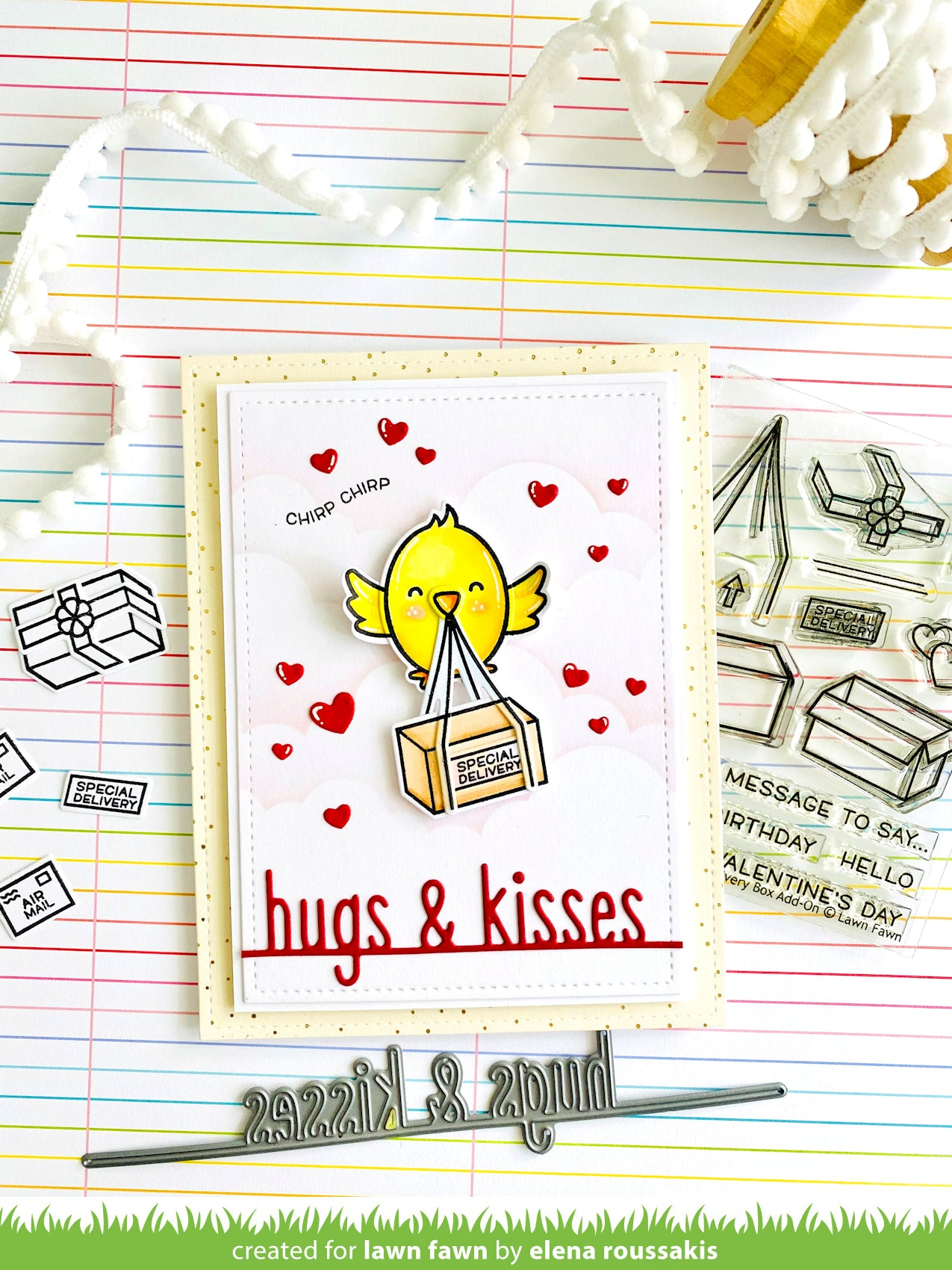 hugs and kisses line border