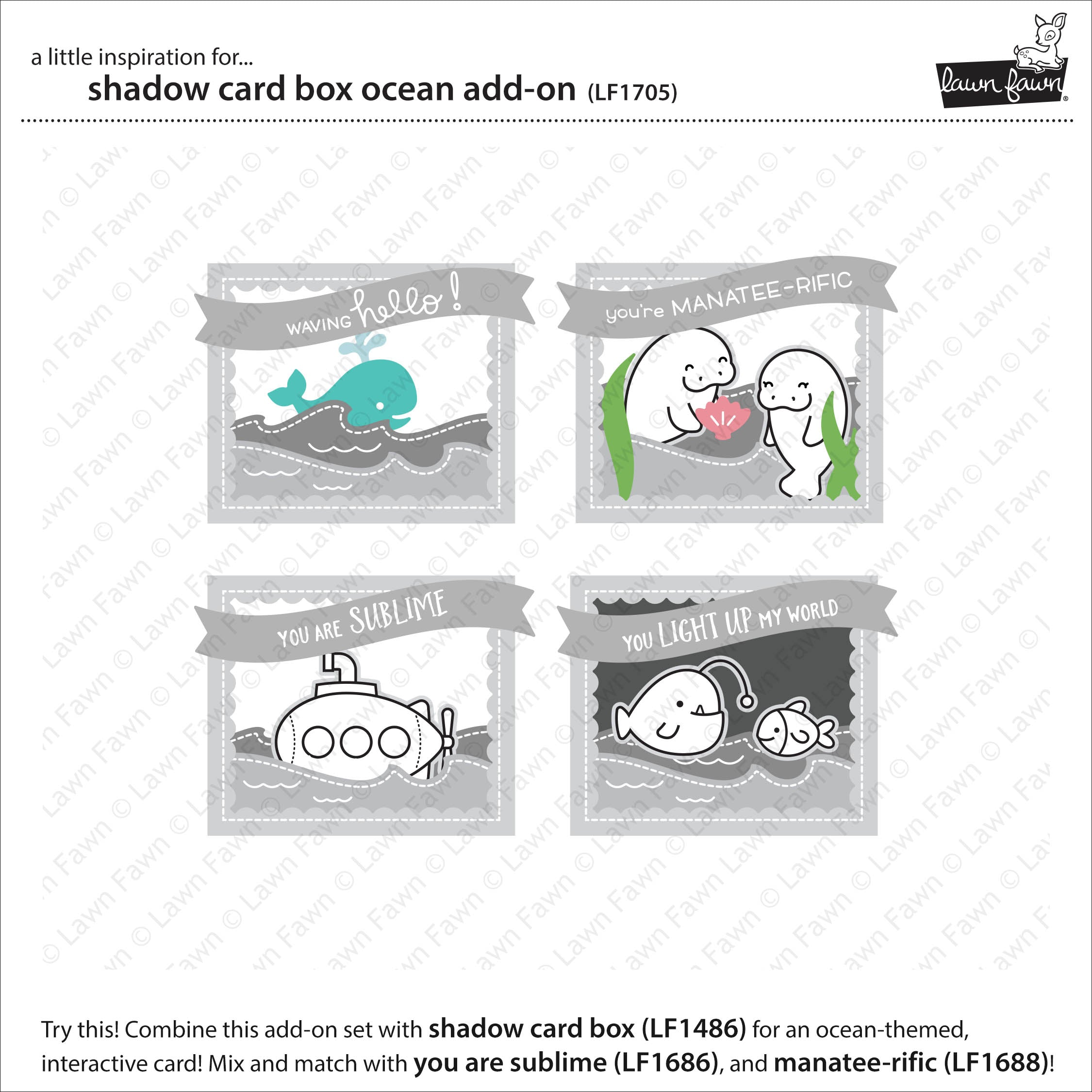 shadow box card ocean add-on