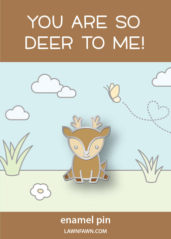 hello, deer enamel pin