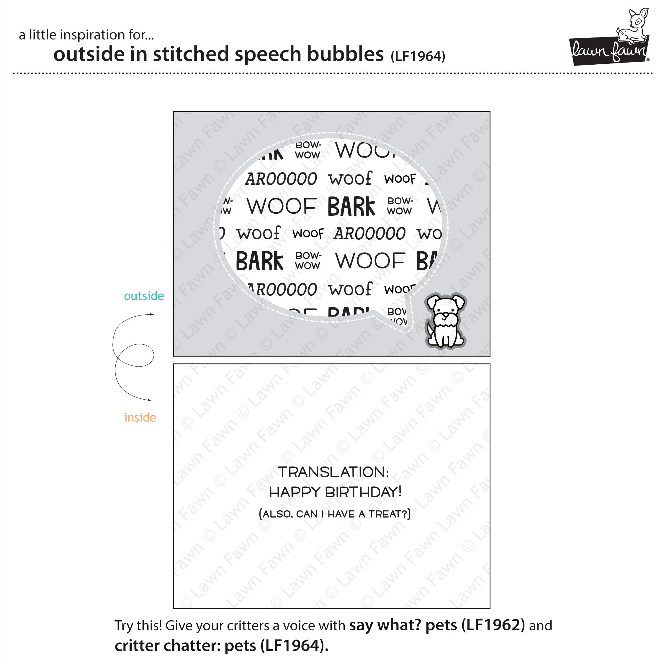 outside in stitched speech bubbles