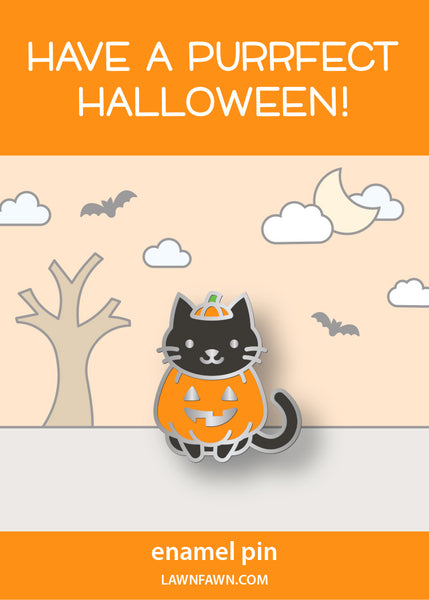 cat-o'-lantern enamel pin