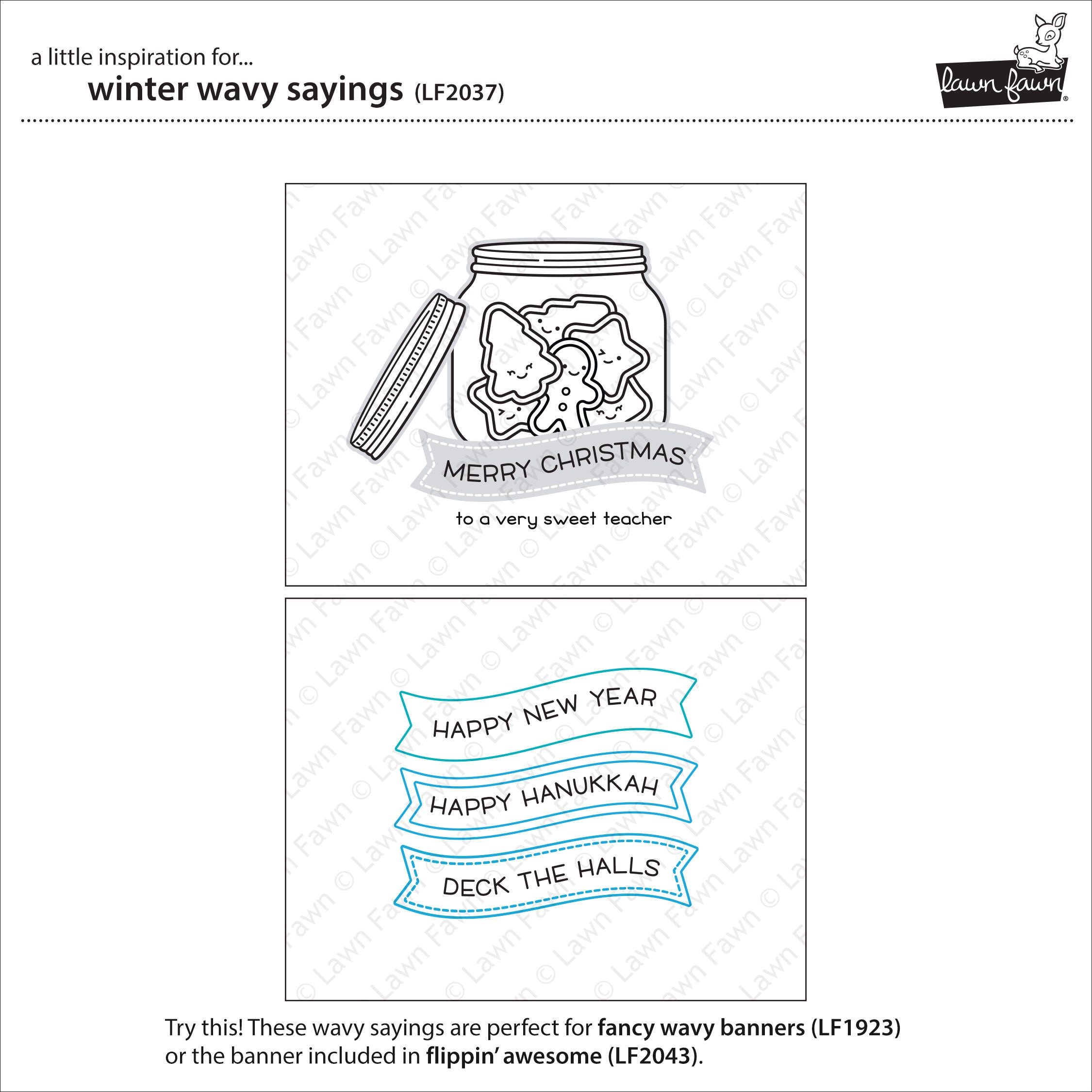 LF2037 Lawn Fawn Winter Wavy Sayings 3x4 Clear Stamps