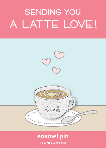a latte love enamel pin