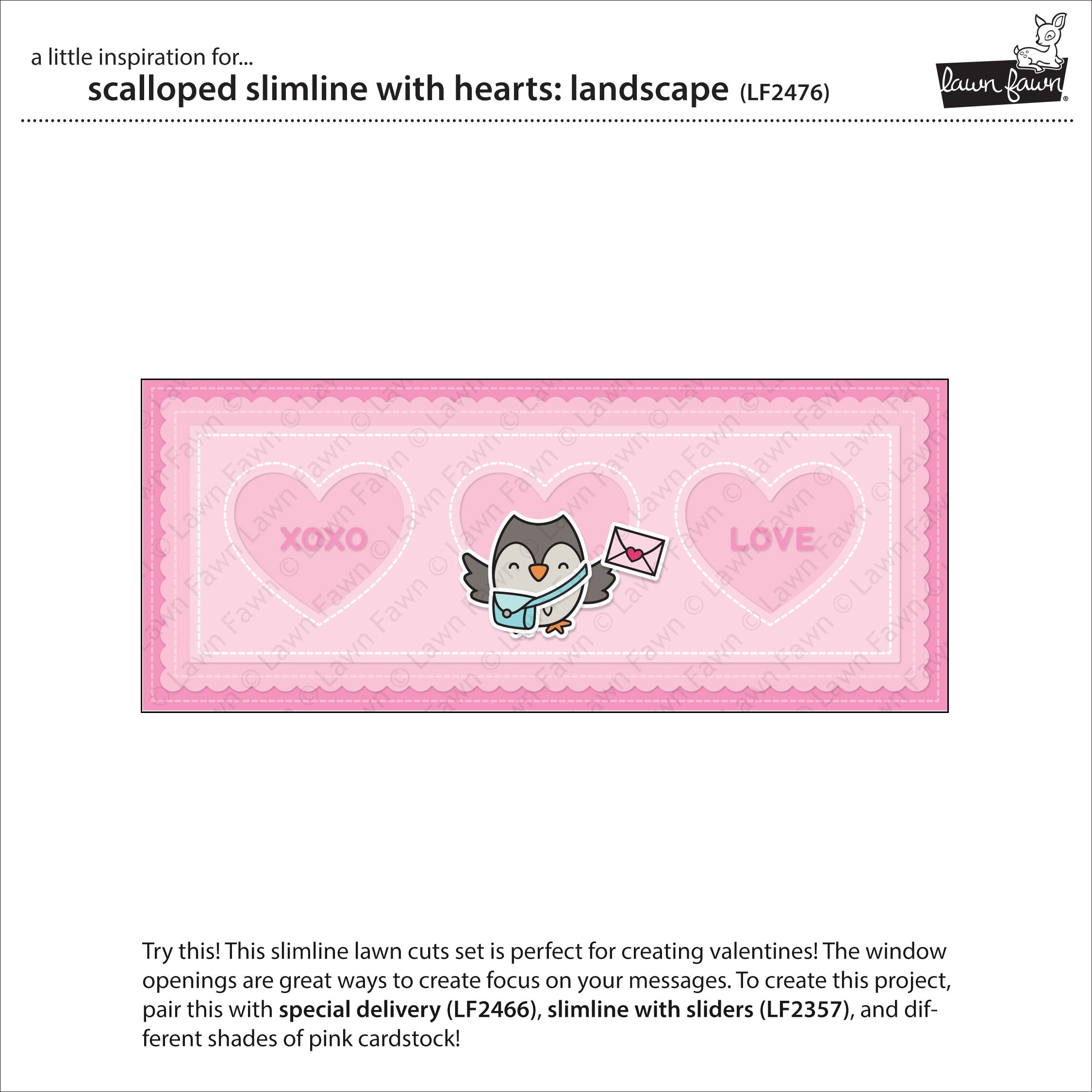 scalloped slimline with hearts: landscape