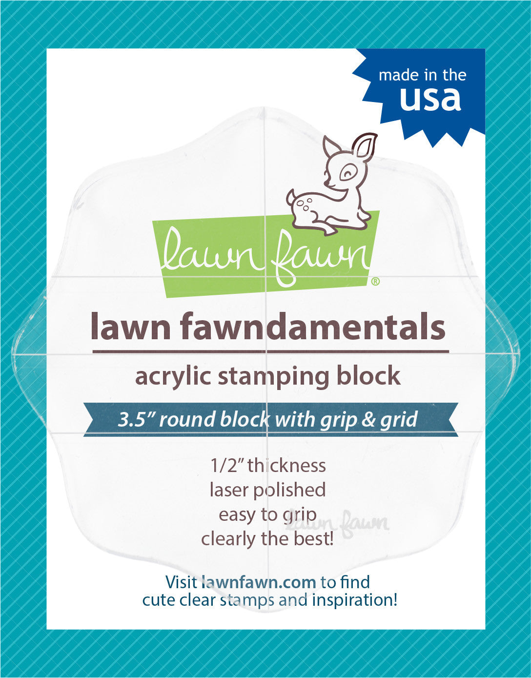 "Lawn Fawn CLEAR ACRYLIC STAMPING BLOCK  ~ 3/"" x 6/"" with grip /& grid ~ 1//2/"" thick"