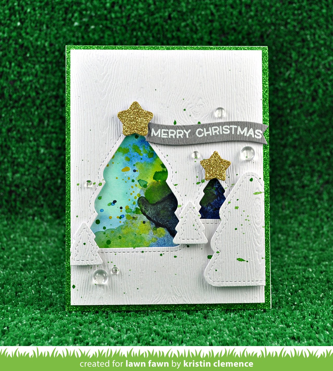 outside in stitched christmas tree stackables