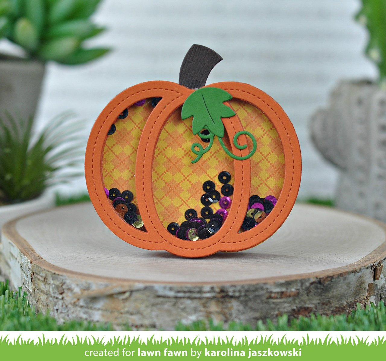 outside in stitched pumpkin