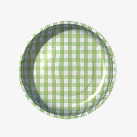 "gingham 4"" magnetic bowl - green"