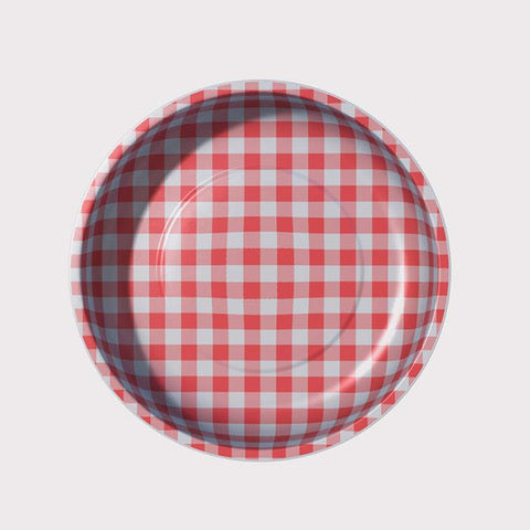 "gingham 4"" magnetic bowl - red"