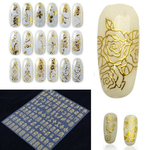 108pcs/sheet Gold 3D Nail Art Stickers